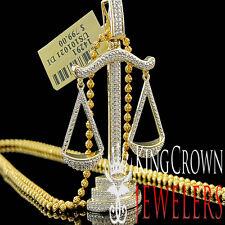 Diamond Pendant Mens Lucky Libra Scale Round Pave Charm 10K Yellow Gold Finish