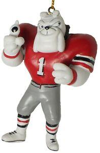 Georgia Bulldogs Hairy Mascot Christmas Ornament