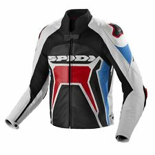 Handmade Spidi Warrior 2 Red  Leather Jacket with Light Blue Rollover
