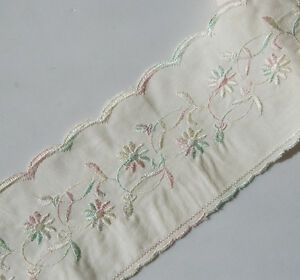 5.5 Yards 3.5'' Wide Ivory Cotton Fabric with Embroidered Colorful Flower 1054