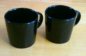 Pair Of iittala Finland Kaj Franck Ceramic Black Teema Mugs (BNWOT)