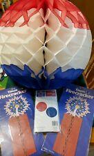 New listing July 4Th Honeycomb Decor 2 Vintage 2 19in balls & 2 fireworks, 2 sm balls