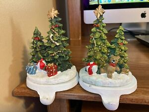 Set of 2 Heavy World-Accents Glitter Christmas Tree Stocking Holders Ceramic Cas