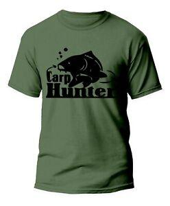 New Carp Hunter T-shirt Fishing Top Birthday Xmas Gift Gym Tee Fishery Small-5xl