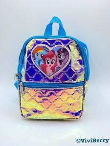 My Little Pony Small Backpack Iridescent Shiny Sparkly Heart Multi Color Blue
