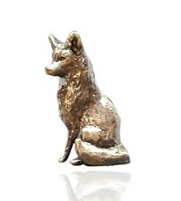 More details for country animal bronze miniature sculpture - fox sitting - butler & peach 2081