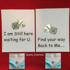 "2 Lovers "" Find Your Way Back to Me"" Compass & Always Love Silver Necklace Set."