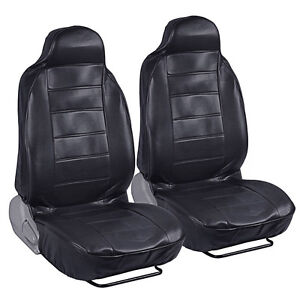 Front Pair Seat Covers for Car SUV - Black Leatherette High Back Synth Leather
