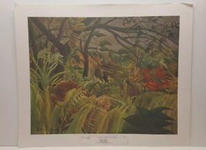 Vintage Lithograph Art Print Henri Rousseau Tropical Storm with a Tiger