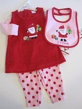 Carter's Santa Claus Dress Top Pants Bib Size 3 Months Red Pink Christmas LOT