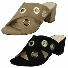 Ladies Anne Michelle Mid Heel Cross Over Vamp Mules