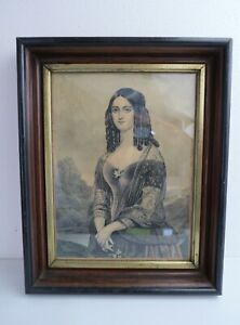 ORIGINAL CURRIER IVES LITHOGRAPH Hourglass Victorian buxom bottle curls lady