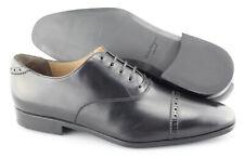 Men's SALVATORE FERRAGAMO 'Boston' Black Leather Cap Toe Oxfords Size US 9.5 - E