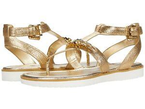 MICHAEL KORS Farrow Thongs Flat Slingbacks Sandals Pale Gold Leather US Size 11