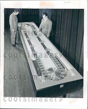 1956 Goodyear Tire Belting Engineers w Model of Conveyor Belt Press Photo