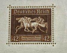 GERMANY SCOTT # B90 HORSE RACE SOUVENIR SHEET MNHOG