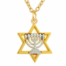 Estrella De David MENORÁ Israel judía Kabbalah Colgante Collar Judaica Tono Oro