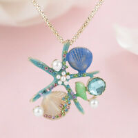 Blue Enamel Pendant Long Necklace Crystal Starfish Shell Conch