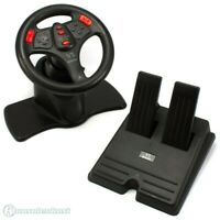 PS2 - Lenkrad / Wheel mit Pedale #schwarz V3 / rote Buttons [Interact]