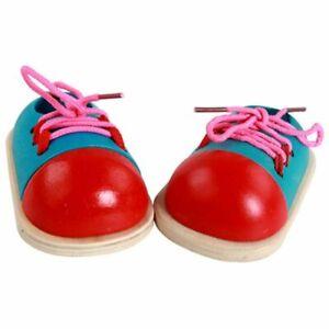 Montessori Tie Shoelaces Games Teaching Lacing Shoes Wooden Shoes Puzzles Toys