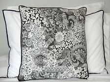 NWT Velvet Cushion 45 x 45 CM Black & White Cotton Velvet with Edge binding