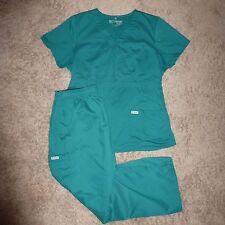 GREY'S ANATOMY scrub SET: TOP & PANTS size M Petite  4245 4245P GREEN  H6