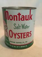 MONTAUK OYSTERS VINTAGE INDIAN CAN OYSTER GALLON