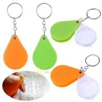 Pocket Folding 10X Magnifier Loupe Magnifying Glass Lens With Keychain Portable