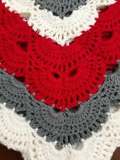 Hand Crocheted Baby Blanket or Adult Lap.  Red, Gray and Cream.   Acrylic Yarn.