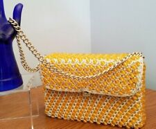 RARE VINTAGE 50s 60s Ivory Crochet Amber Faceted Lucite Beads Box Handbag