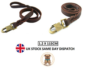Handmade Braided Genuine Leather Dog Leads Strong Training Dog Lead 1.2 Meter