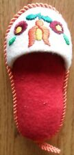 """Embroidered Slipper Pin Cushion 5 1/2"""" Handmade Hungary 60s or 70s Souvenir"""