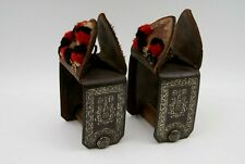 ANTIQ MEXICAN FORGED IRON & LEATHER SILVER INLAID STIRRUPS - MATCHED PAIR ORIG