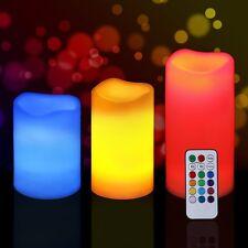 Flameless Set da 3 A Batteria LED che cambia colore Candele Con Telecomando