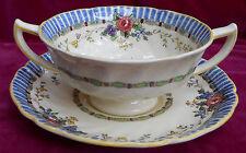 ROYAL DOULTON THE VERNON CREAM SOUP BOWL SAUCER S D5124 FLORAL ANTIQUE CUP