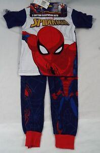 Marvel Spiderman 2 Coordinating Cotton Pajama Set - 2 Shirts 1 Short 1 Pant