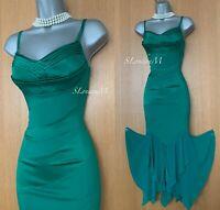 KAREN MILLEN UK 10 Green Silk Mermaid Style Ball Gown Prom Cocktail Midi Dress