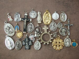 Lot of 27 Catholic MEDALS Crucifix metal Pocket statue rosary - many vintage