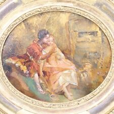 Antique oil painting panel young lovers 19th century gilt gesso frame portrait