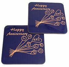 45 Aniversario Bodas (Zafiro) Par de posavasos Flor