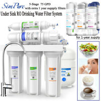 5Stage Home Drinking Water Filter 75GPD Kitchen Water Filtration System Purifier