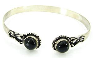 925 Silver Plated Black Onyx Gemstone Bracelet Bangle Girl Fashion Jewelry- 3844