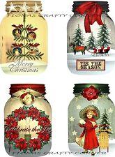 8 CHRISTMAS WINTER MASON JAR HANG / GIFT TAGS FOR SCRAPBOOK PAGES (24)