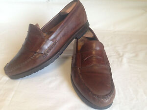 Allen Edmonds Norwell brown 9 D leather penny loafers, solid Made In USA   B8(5)