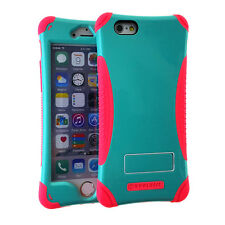 For iPhone 6 / 6S - HARD&SOFT HIGH IMPACT HYBRID CASE COVER BLUE PINK KICKSTAND