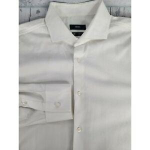 BOSS Hugo Boss 43 / 17 Slim Fit Dress Shirt White Button Down Career Business