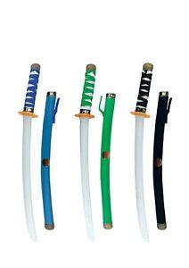 Ninja Warrior Katana Sword With Scabbard Fancy Dress Toy Blue, Green & Black