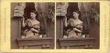 18 colorierte estéreo fotos hermosas genre alrededor de 1880, lot 6
