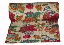 Vintage Floral Print Kantha Quilt Throw Handmade Cotton Gudri Indian Bedspread