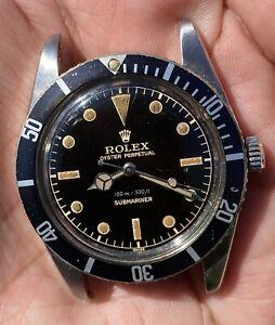 Vintage Rolex Submariner 6536/1 Black Gilt Dial Year 1957
